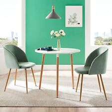 Round wooden Dining Table and 2 Velvet Chairs Luxurious Lounge Dining Room Set