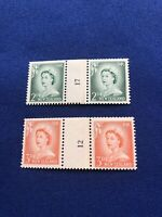 New Zealand Stamps,2 CntrCoilPairs,1960,CP NC8a,NC8b,CatVal:$26US,Pr:$6US (9378)