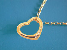 "9CT YELLOW GOLD OPEN HEART PENDANT WITH DIAMONDS ON 18"" CHAIN"