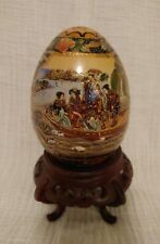 """Vintage Hand Painted SATSUMA MORIAGE  Big 5"""" Egg w/ Stand Geisha Ladies In Boat"""