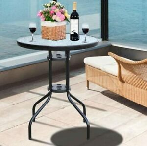 60cm Round Garden Table Metal Glass Black Outdoor Drinks Side Bistro Durable