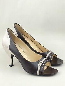 PRADA Brown / Cream Leather  Heel Shoes UK 7.5 | EU 40.5 | US 9.5