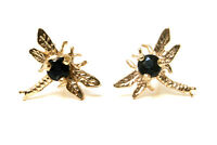 9ct Gold Sapphire Dragonfly Studs Earrings Gift boxed Made in UK Christmas Gift