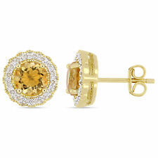Amour Yellow Plated Silver Citrine and 1/10ct TDW Diamond Earrings (G-H, I2-I3)