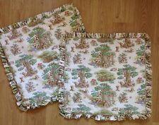 *Two*Large Ruffle Pillow Shams~Teddy Bears Picnic100% Cotton Canvas