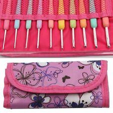 10Pcs Colorful Soft Handle Aluminum Crochet Hooks Knitting Needles Set