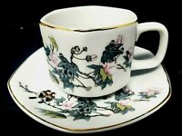 Vintage Porcelain Tea Cup & Saucer Hand Painted Birds & Cherry Blossoms Japan