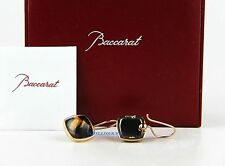 BACCARAT MEDICIS ST.SILVER VERMEIL GOLD BROWN CLEAR MORDORE WIRE EARRINGS NEW