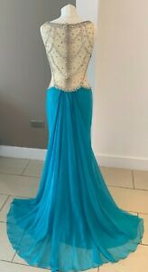 ENVIOUS COUTURE TURQUOISE BLUE PROM PAGEANT DRESS WITH CUTOUT AND TRAIN BNWT US1