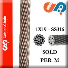 PER M - 3mm 1X19 316 Stainless Steel Cable (1 = 1 Meter)