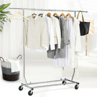 Heavy Duty Adjustable Garment Rack Clothing Rack Collapsible Rolling W/Casters