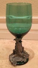 PEWTER GREEN WINE GLASS Goblet Myths Legends Dungeon Dragon Castle Mid-Evil Goth