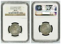NGC Mexico 1915 1 Un Peso Oaxaca Revolution 4th Bust Mint Silver Color MS63