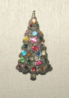 Vintage Christmas Tree Pin Brooch Silver Tone Rhinestones
