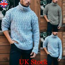 Mens Winter Warm Turtle Neck Chunky Knitted Tops Sweater Casual Pullover Jumper