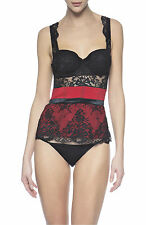 La Perla El Color Rojo 34B Bustier Top Black Lace Red Silk New $854
