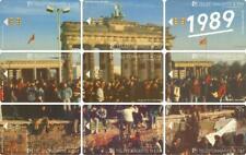 1989 Fall der Mauer. Brandenburger Tor - Puzzle aus 9 Telefonkarten - gerahmt