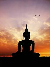 ART PRINT POSTER PHOTO SILHOUETTE STATUE BUDDHA SUNSET LFMP0141