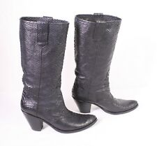 32S Enrico Fantini Westernstiefel Boots Stiefel Krokolook Leder schwarz Gr. 38,5