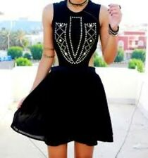 Love Black Cut Out Studded Front Skater Dress Black Small/Med RRP £43 Box4349 M