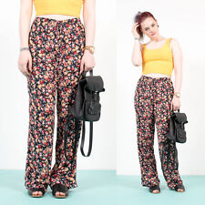 WOMENS VINTAGE 90'S FLORAL PATTERNED HIGH WAIST LOOSE FIT TROUSERS SUMMER 16