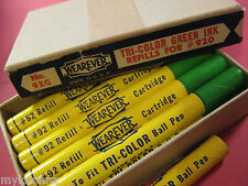 vtg Wearever Ink Refills Tri Color GREEN Ball Point Pen DRY old box parts repair