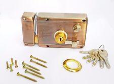 House Main Gate/Metal Door Round Cylinder Lock Rim Night Latch + 6 Keys HQ