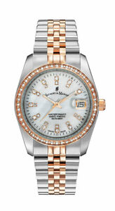 Jacques Du Manoir NROP.23 Ladies Crystal Accented Two Tone Watch w/ MOP Dial