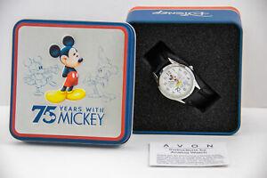 Disney Mickey Mouse 75th Anniversary Womens Black Wristwatch New in Keepsake Tin