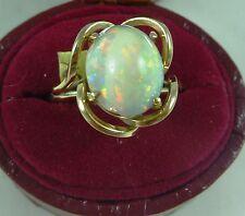 FABULOUS VINTAGE 9CT K ROSE GOLD SOLID WHITE AUSTRALIAN OPAL RING C 1950'S