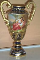Stunning Antique Royal Vienna Porcelain Urn/Vase-artist signed- Gold Cobalt Blue
