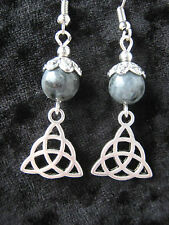 Celtic Triquetra & Larvikite Norwegian Moonstone Earrings Pagan Trinity Knot