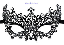 Black ELISE Metal Lace and Crystal VENETIAN Mask * Made in Italy