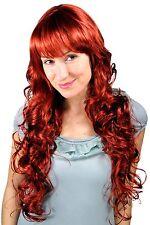 Perruque pour Femme Rouge Auburn Long Bouclé Bouclée Boucles Frange 70cm