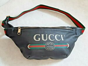 Authentic Gucci Print Leather Belt Bag Mens Made In Italy