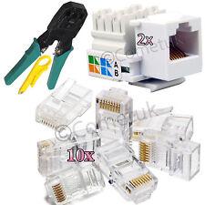 RJ45 Ethernet Crimping Crimp Tool Connector With Keystone Jack LAN NetworK Kit