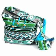 Bolsa Resortera bohemio de Nepal, Jacquard cabestrillo de hombro Bolso mensajero bolsa de cadera Verde Azulado