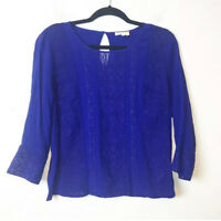 Anthropologie Meadow Rue Blue Lace Panel Blouse Womens Size Small