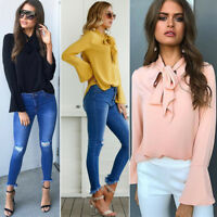 Womens Bell Long Sleeve Blouse Shirt Ladies OL Office Work Casual T-Shirts Tops