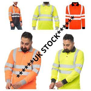 PREMIUM Hi Vis Viz Polo T-Shirt High Visibility Reflective Tape Safety Work Top