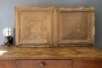 Vintage Ceiling Tile Gold Gothic Tin Panel Salvage Arts Crafts Large Vintage Old