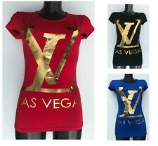 Ladies Women's Casual Short Sleeve T-shirt with printed phrase Las Vegas -Fitted