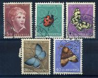 Switzerland 1952 Mi. 575-579 Used 100% Pro Juventute, insects