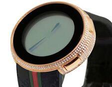 New Mens Black Rubber I Gucci Digital Rose Finish Diamond Watch YA114207 4.0 Ct