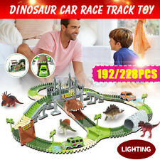 192/228Pcs Dinosaur Race Car Plastic Flexible Track Children Kid Educational Toy