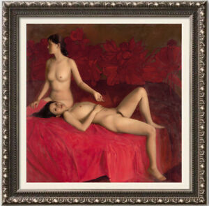 """Original Oil Painting female art chinese nude girl on canvas 30""""x30"""""""