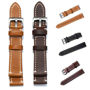 Genuine Soft Leather Wrist Watch Band Strap Bracelet Replacement 3COLOR 18-23mm