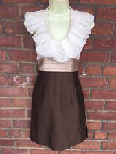 ESCADA Ivory Chiffon Ruffle Collar Brown Raw Silk Sheath Dress Sz FR 36 US 4