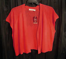 WOW~CORAL OPEN FRONT/WEAVE KNIT CROCHET CARDIGAN JACKET SWEATER SHRUG TOP~3X*NEW
