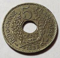 1938 French Indonesia Indochina Indo-China 5 Cents